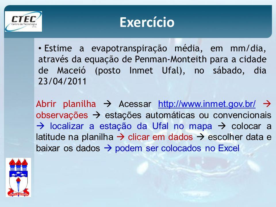 Estime a evapotranspiração média, em mm/dia, através da equação de Penman-Monteith para a cidade de Maceió (posto Inmet Ufal), no sábado, dia 23/04/20