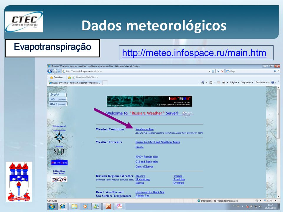 Dados meteorológicos http://meteo.infospace.ru/main.htm