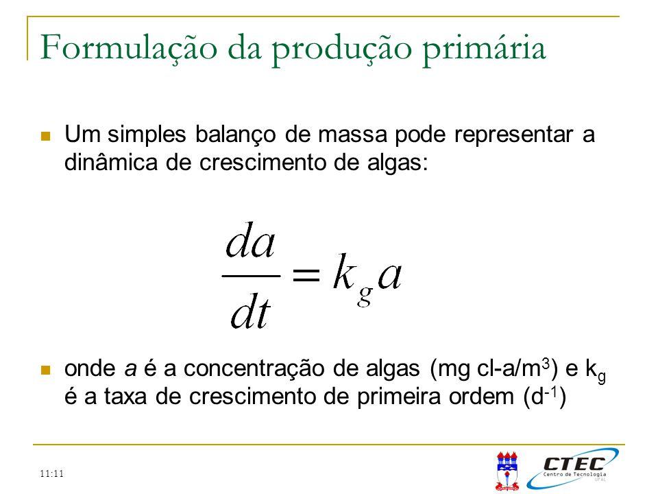 11:11 Formulação da produção primária Um simples balanço de massa pode representar a dinâmica de crescimento de algas: onde a é a concentração de alga