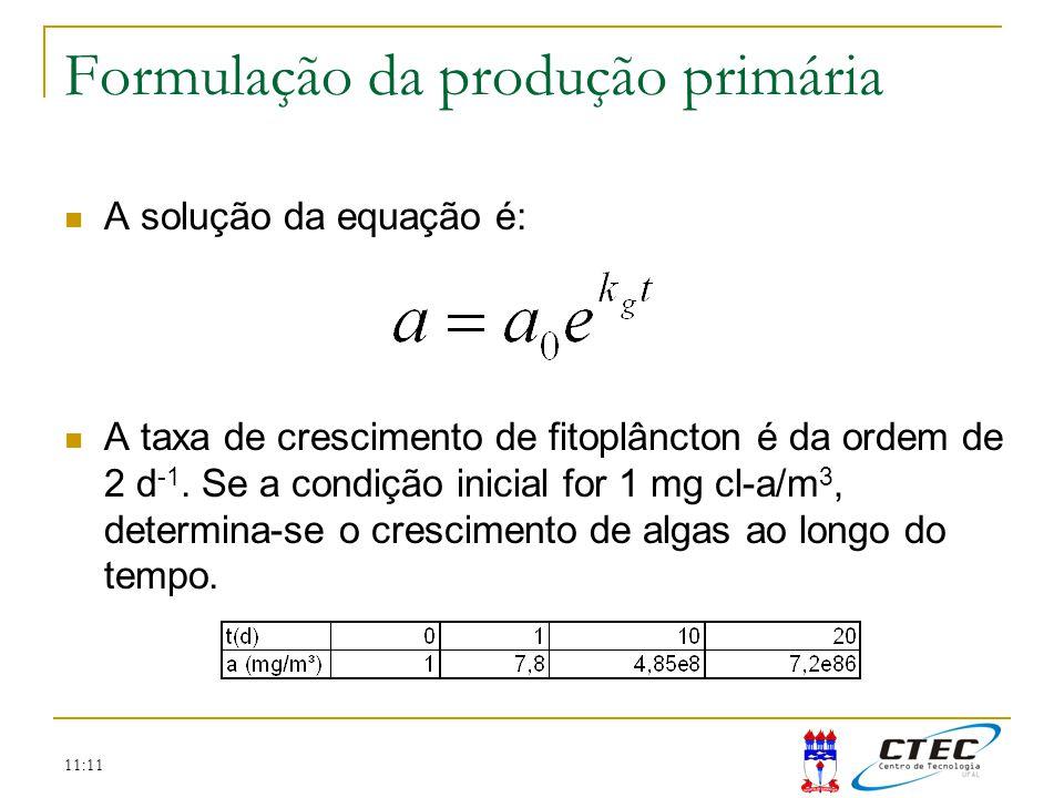 11:11 A solução da equação é: A taxa de crescimento de fitoplâncton é da ordem de 2 d -1. Se a condição inicial for 1 mg cl-a/m 3, determina-se o cres
