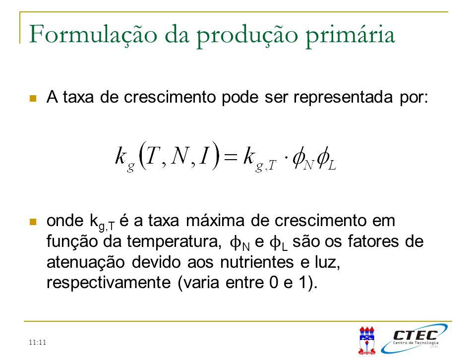 11:11 Formulação da produção primária A taxa de crescimento pode ser representada por: onde k g,T é a taxa máxima de crescimento em função da temperat