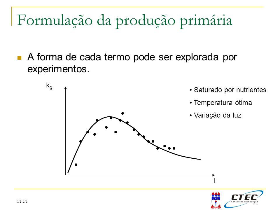 11:11 Formulação da produção primária A forma de cada termo pode ser explorada por experimentos. kgkg I Saturado por nutrientes Temperatura ótima Vari
