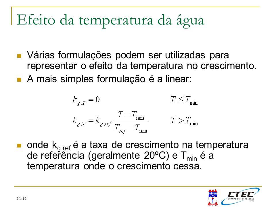 11:11 Efeito da temperatura da água Várias formulações podem ser utilizadas para representar o efeito da temperatura no crescimento. A mais simples fo