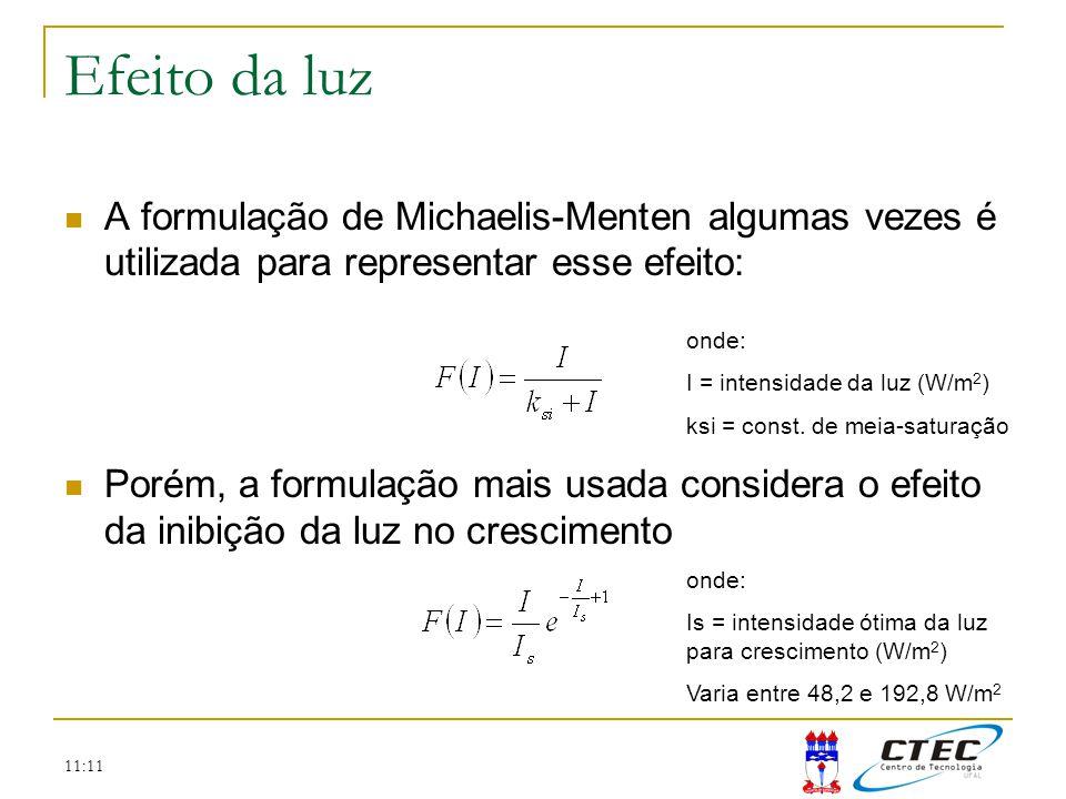 11:11 Efeito da luz A formulação de Michaelis-Menten algumas vezes é utilizada para representar esse efeito: Porém, a formulação mais usada considera