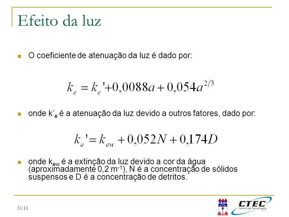11:11 Efeito da luz O coeficiente de atenuação da luz é dado por: onde k e é a atenuação da luz devido a outros fatores, dado por: onde k ew é a extin