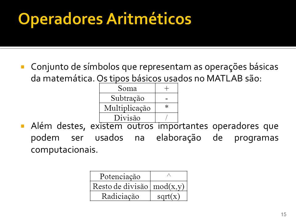 Conjunto de símbolos que representam as operações básicas da matemática. Os tipos básicos usados no MATLAB são: Além destes, existem outros importante