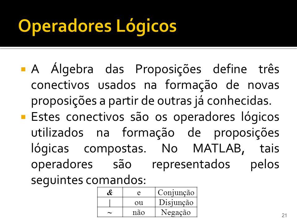 A Álgebra das Proposições define três conectivos usados na formação de novas proposições a partir de outras já conhecidas. Estes conectivos são os ope
