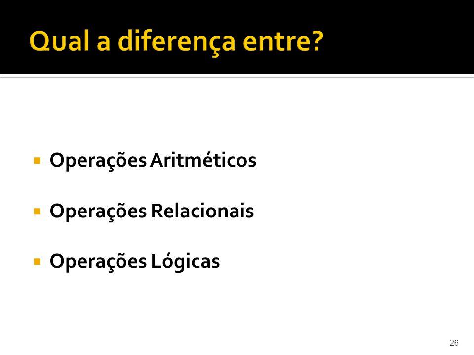 Operações Aritméticos Operações Relacionais Operações Lógicas 26