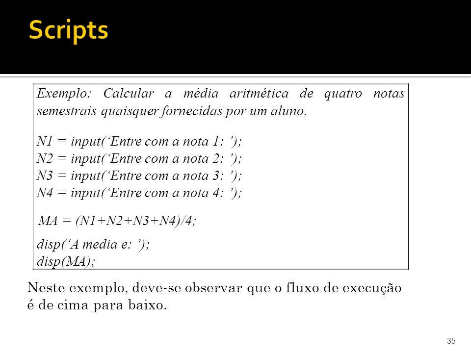35 Exemplo: Calcular a média aritmética de quatro notas semestrais quaisquer fornecidas por um aluno. Neste exemplo, deve-se observar que o fluxo de e