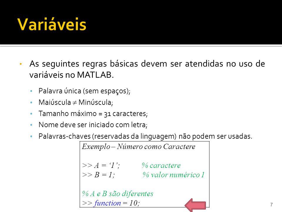 As seguintes regras básicas devem ser atendidas no uso de variáveis no MATLAB. Palavra única (sem espaços); Maiúscula Minúscula; Tamanho máximo = 31 c