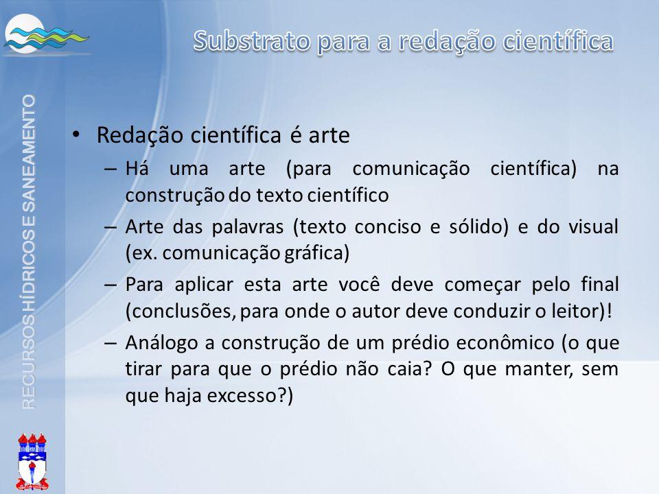RECURSOS HÍDRICOS E SANEAMENTO Redação científica é arte – Há uma arte (para comunicação científica) na construção do texto científico – Arte das pala