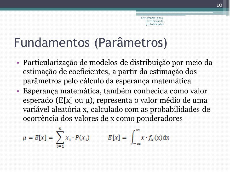 Fundamentos (Parâmetros) Particularização de modelos de distribuição por meio da estimação de coeficientes, a partir da estimação dos parâmetros pelo