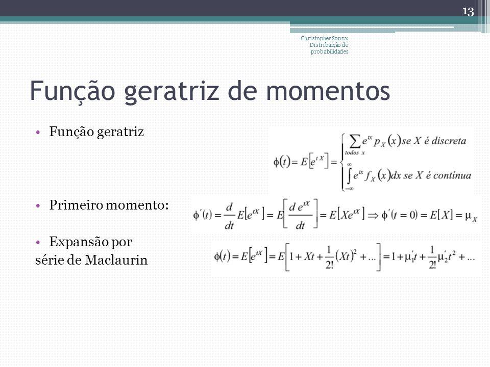 Função geratriz de momentos Função geratriz Primeiro momento: Expansão por série de Maclaurin 13 Christopher Souza: Distribuição de probabilidades