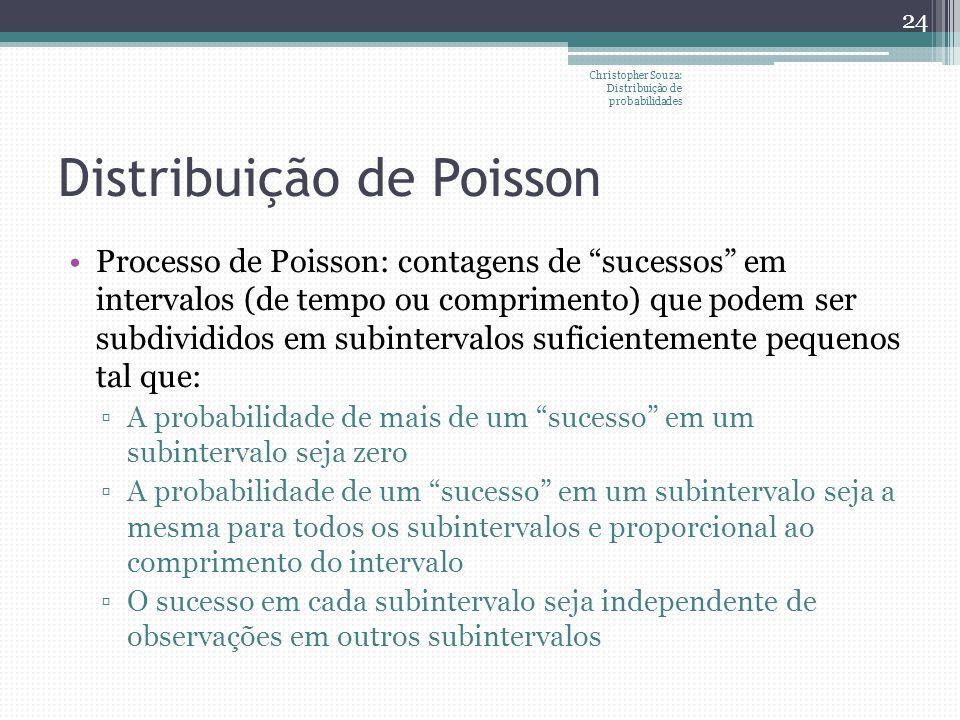 Distribuição de Poisson Processo de Poisson: contagens de sucessos em intervalos (de tempo ou comprimento) que podem ser subdivididos em subintervalos