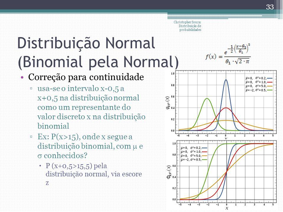 Distribuição Normal (Binomial pela Normal) Christopher Souza: Distribuição de probabilidades 33 Correção para continuidade usa-se o intervalo x-0,5 a