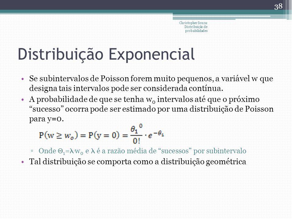 Distribuição Exponencial Se subintervalos de Poisson forem muito pequenos, a variável w que designa tais intervalos pode ser considerada contínua. A p