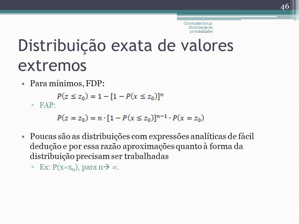 Distribuição exata de valores extremos Para mínimos, FDP: FAP: Poucas são as distribuições com expressões analíticas de fácil dedução e por essa razão