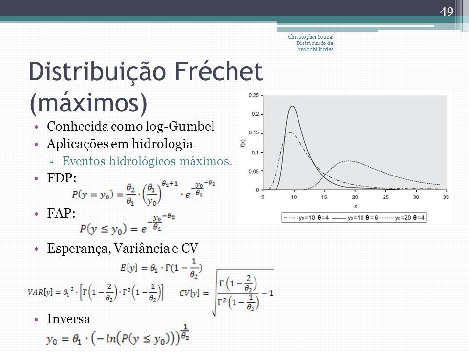 Distribuição Fréchet (máximos) Christopher Souza: Distribuição de probabilidades 49 Conhecida como log-Gumbel Aplicações em hidrologia Eventos hidroló