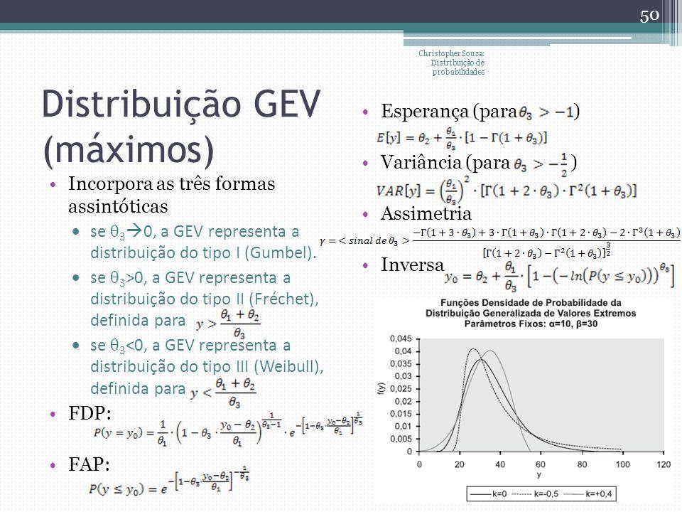 Distribuição GEV (máximos) Christopher Souza: Distribuição de probabilidades 50 Incorpora as três formas assintóticas se 3 0, a GEV representa a distr