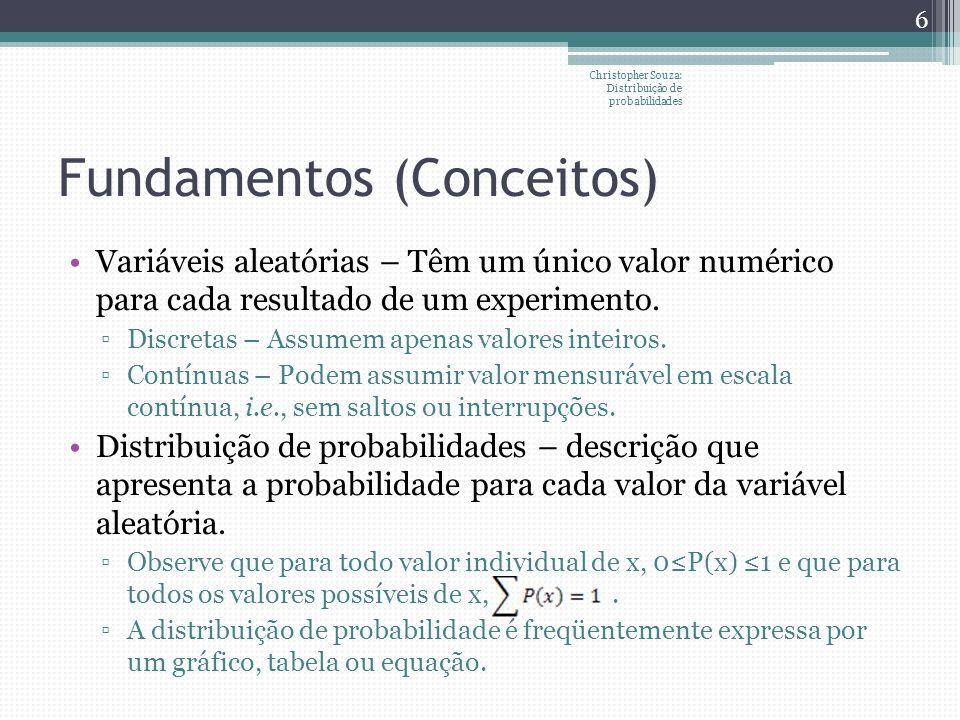 Distribuição Uniforme Processo eqüiprovável com n resultados possíveis: P(x=x o ) =1/n, onde a x b, sendo a e b os valores extremos de x e n=(b-a+1) FAP: E[x]=(a+b)/2 Christopher Souza: Distribuição de probabilidades 27