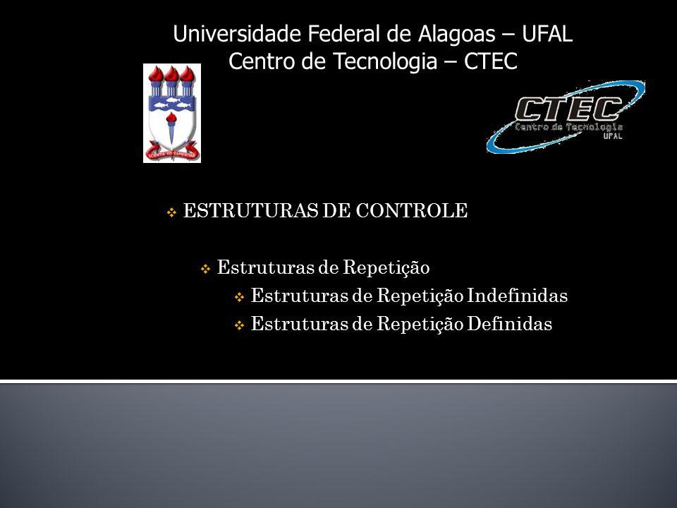 Universidade Federal de Alagoas – UFAL Centro de Tecnologia – CTEC ESTRUTURAS DE CONTROLE Estruturas de Repetição Estruturas de Repetição Indefinidas