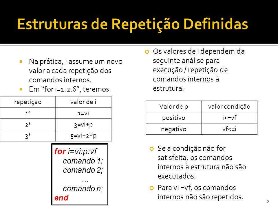 Na prática, i assume um novo valor a cada repetição dos comandos internos. Em for i=1:2:6, teremos: 5 repetiçãovalor de i 1a1a 1=vi 2a2a 3=vi+p 3a3a 5