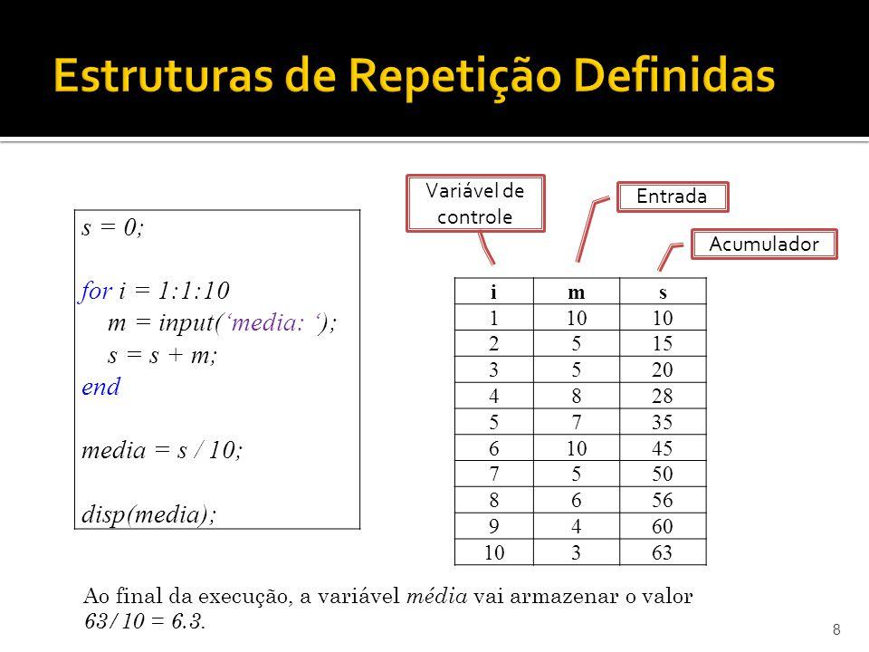 19 A1 = input(Digite o primeiro termo) A2 = input(Digite o segundo termo) Ai = 0; % Imprime primeiro e segundo termo disp(A1); disp(A2); for i=3:1:10 % Verifica se o número é par ou ímpar if ( mod(i,2) == 0 ) Ai = A2 – A1; else Ai = A2+ A1; end % Atualiza os valores de A1 e A2 A1 = A2; A2 = Ai; % Imprime termos disp(Ai); end