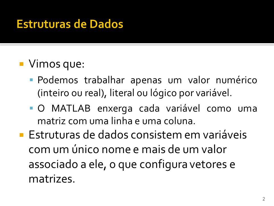 Vimos que: Podemos trabalhar apenas um valor numérico (inteiro ou real), literal ou lógico por variável.