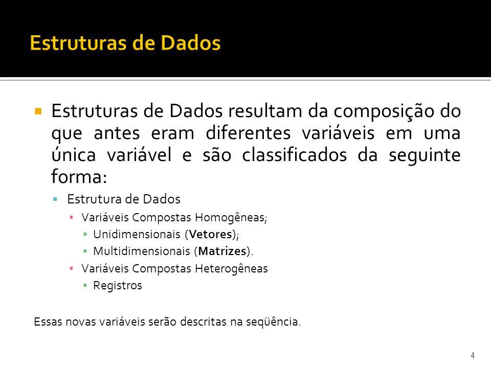 Estruturas de Dados resultam da composição do que antes eram diferentes variáveis em uma única variável e são classificados da seguinte forma: Estrutura de Dados Variáveis Compostas Homogêneas; Unidimensionais (Vetores); Multidimensionais (Matrizes).
