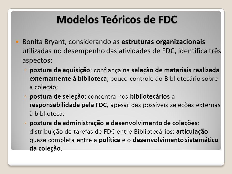 Modelos Teóricos de FDC Bonita Bryant, considerando as estruturas organizacionais utilizadas no desempenho das atividades de FDC, identifica três aspe