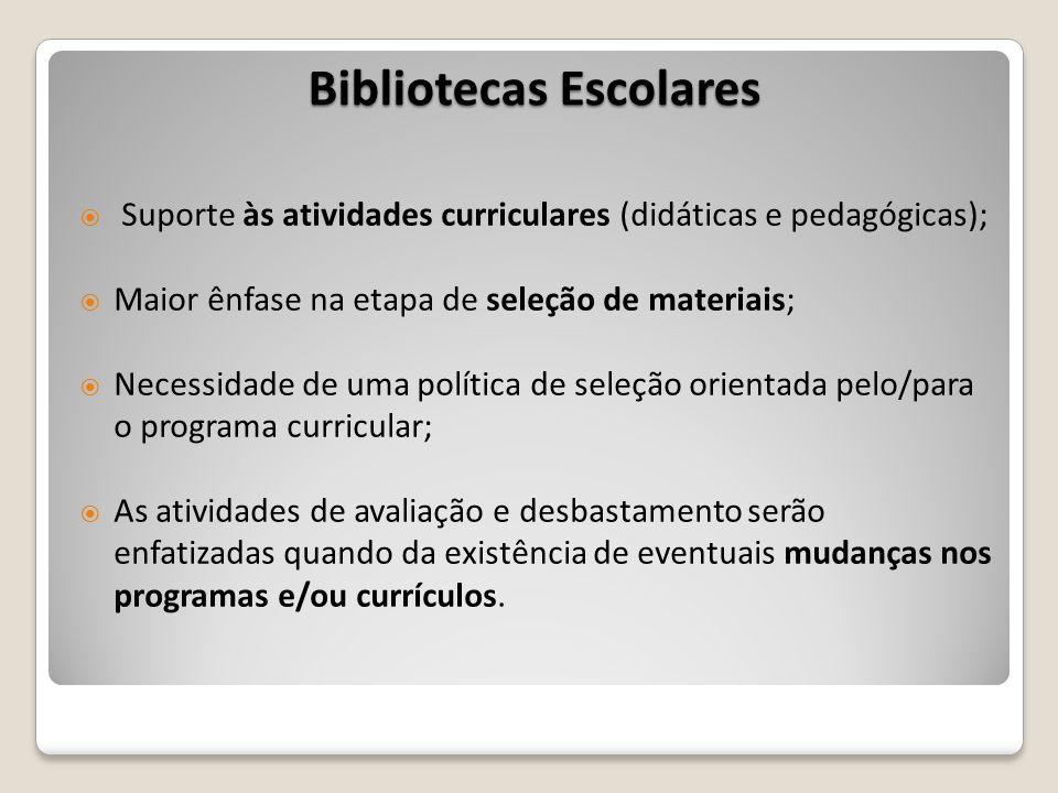 Bibliotecas Escolares Suporte às atividades curriculares (didáticas e pedagógicas); Maior ênfase na etapa de seleção de materiais; Necessidade de uma