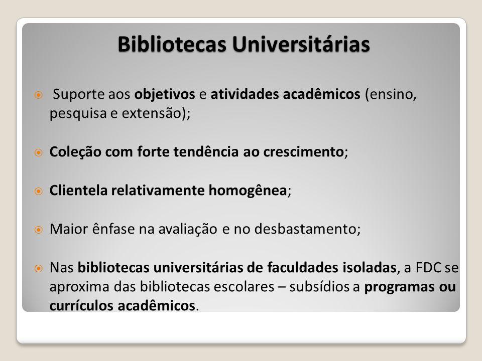 Bibliotecas Universitárias Suporte aos objetivos e atividades acadêmicos (ensino, pesquisa e extensão); Coleção com forte tendência ao crescimento; Cl