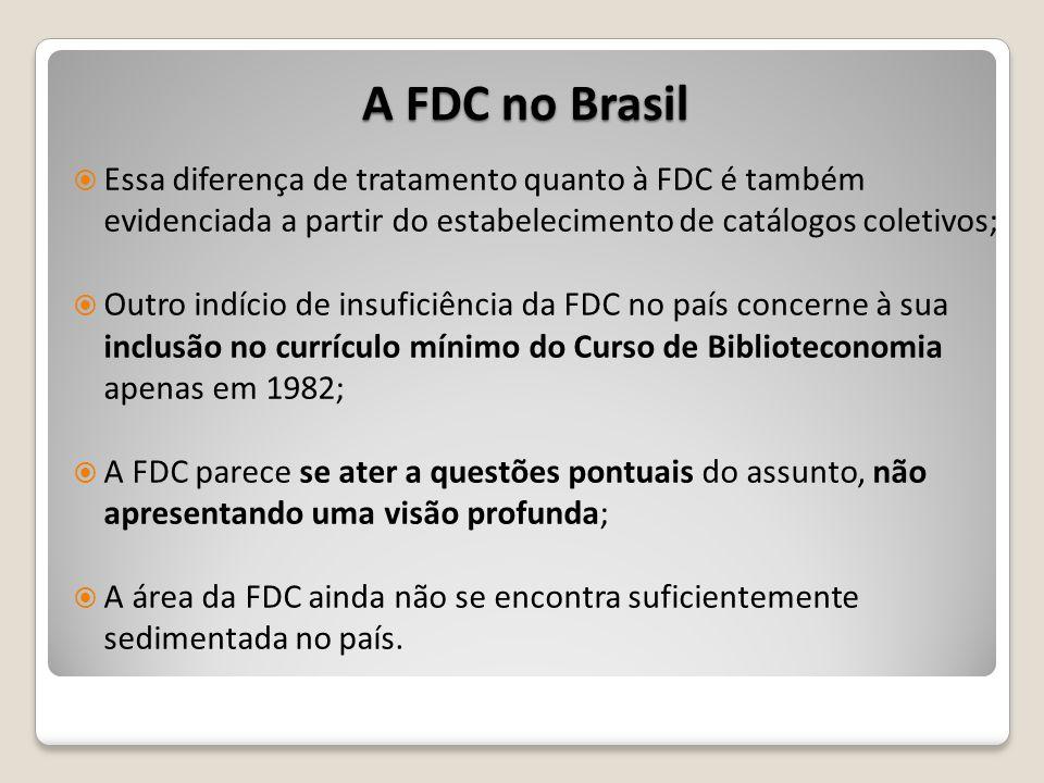 Essa diferença de tratamento quanto à FDC é também evidenciada a partir do estabelecimento de catálogos coletivos; Outro indício de insuficiência da F