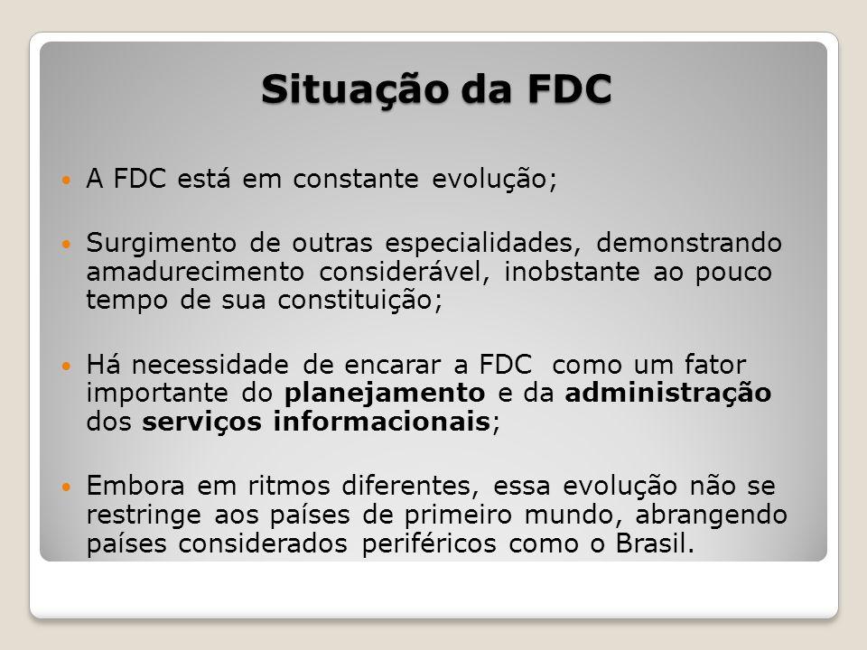Situação da FDC A FDC está em constante evolução; Surgimento de outras especialidades, demonstrando amadurecimento considerável, inobstante ao pouco t
