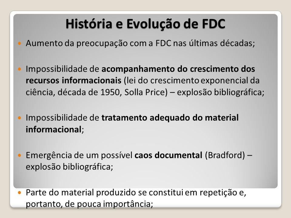 Aumento da preocupação com a FDC nas últimas décadas; Impossibilidade de acompanhamento do crescimento dos recursos informacionais (lei do crescimento