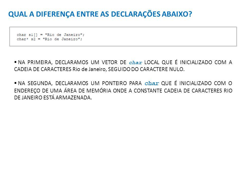 QUAL A DIFERENÇA ENTRE AS DECLARAÇÕES ABAIXO? NA PRIMEIRA, DECLARAMOS UM VETOR DE char LOCAL QUE É INICIALIZADO COM A CADEIA DE CARACTERES Rio de Jane