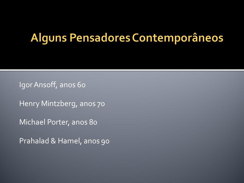 Igor Ansoff, anos 60 Henry Mintzberg, anos 70 Michael Porter, anos 80 Prahalad & Hamel, anos 90