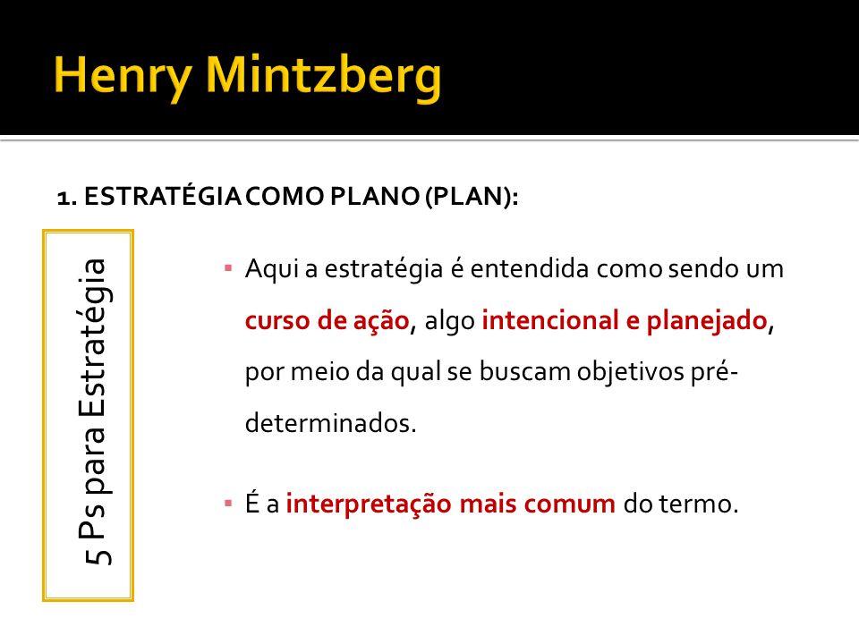 1. ESTRATÉGIA COMO PLANO (PLAN): Aqui a estratégia é entendida como sendo um curso de ação, algo intencional e planejado, por meio da qual se buscam o