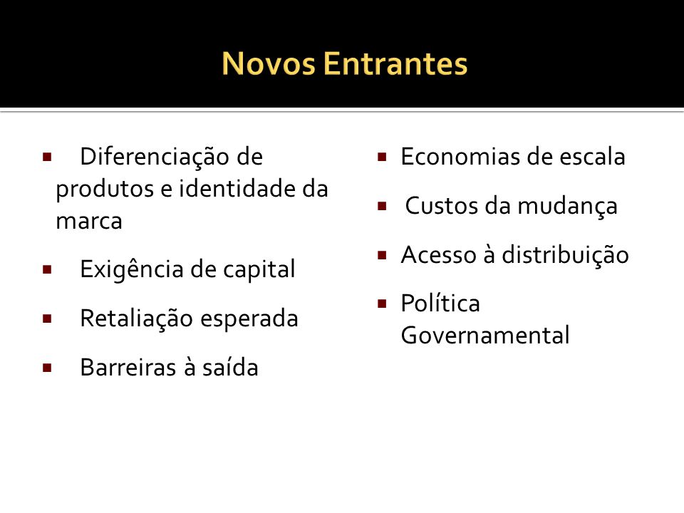 Diferenciação de produtos e identidade da marca Exigência de capital Retaliação esperada Barreiras à saída Economias de escala Custos da mudança Acesso à distribuição Política Governamental