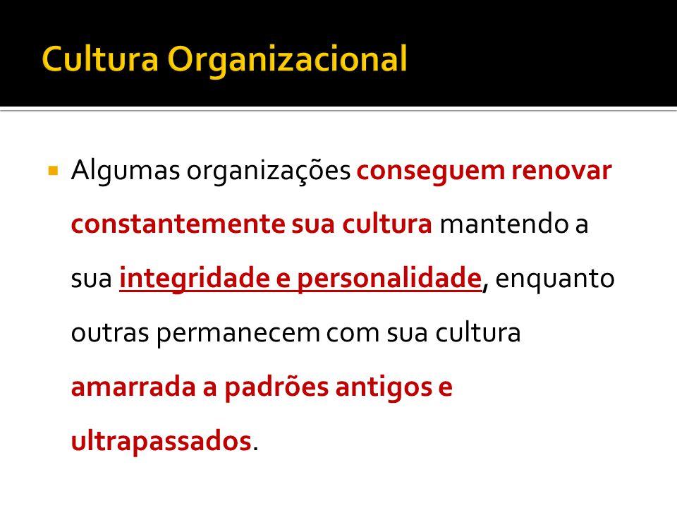 Algumas organizações conseguem renovar constantemente sua cultura mantendo a sua integridade e personalidade, enquanto outras permanecem com sua cultura amarrada a padrões antigos e ultrapassados.