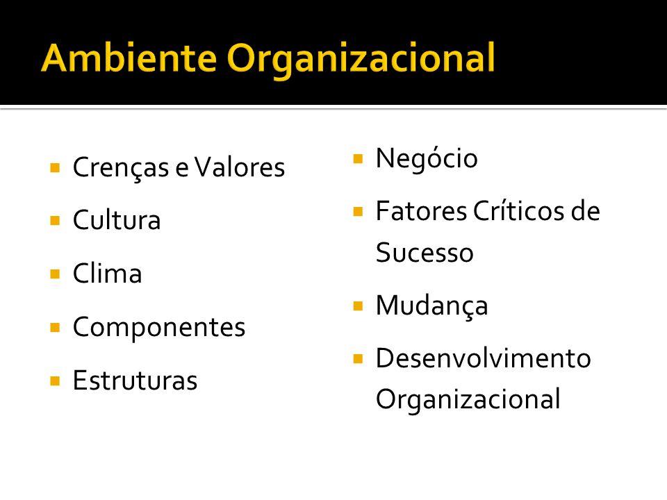 Crenças e Valores Cultura Clima Componentes Estruturas Negócio Fatores Críticos de Sucesso Mudança Desenvolvimento Organizacional
