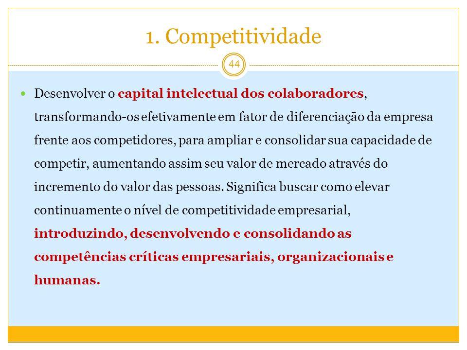 1. Competitividade Desenvolver o capital intelectual dos colaboradores, transformando-os efetivamente em fator de diferenciação da empresa frente aos
