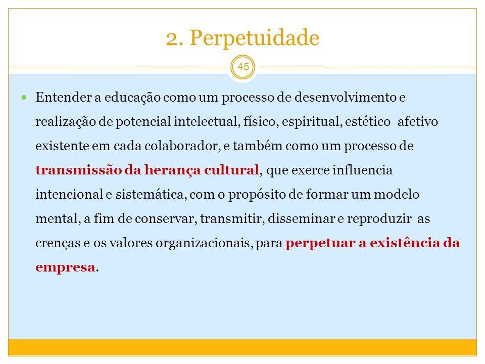 2. Perpetuidade Entender a educação como um processo de desenvolvimento e realização de potencial intelectual, físico, espiritual, estético afetivo ex