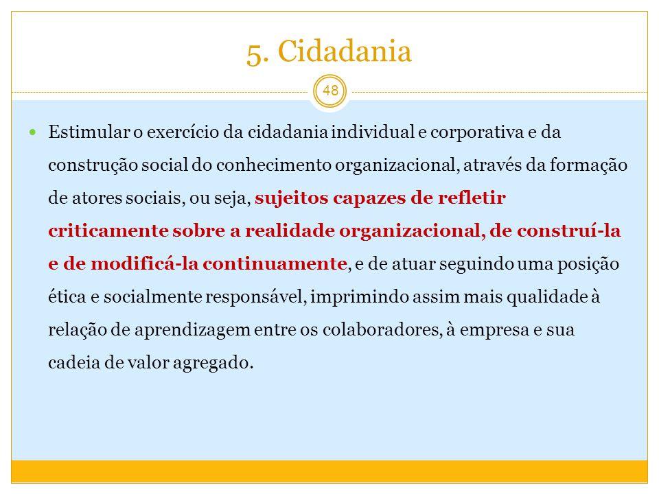 5. Cidadania Estimular o exercício da cidadania individual e corporativa e da construção social do conhecimento organizacional, através da formação de