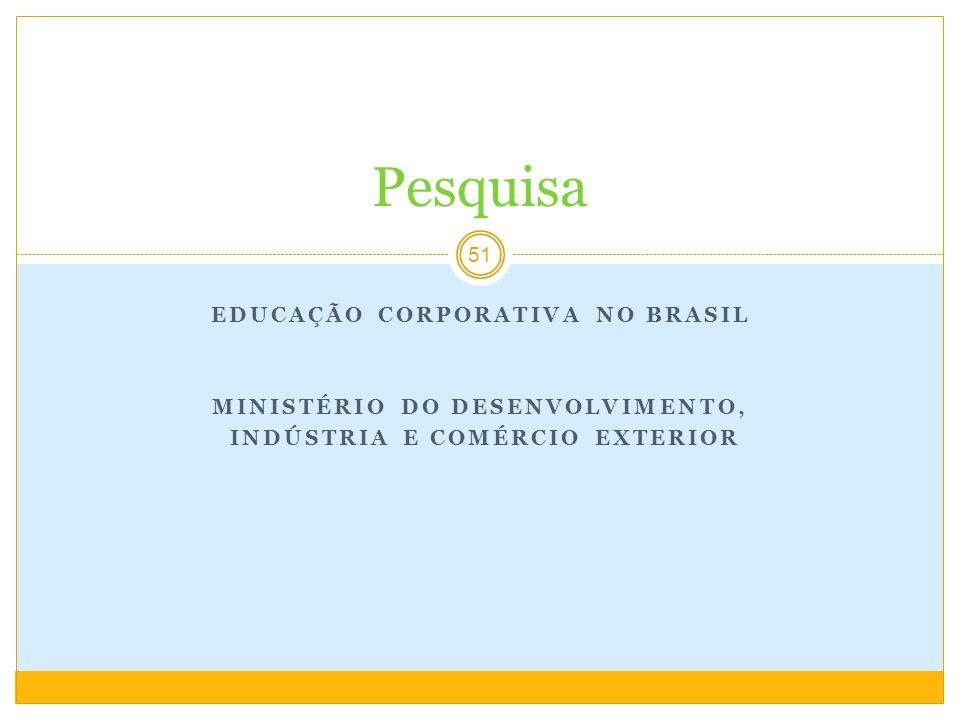 EDUCAÇÃO CORPORATIVA NO BRASIL MINISTÉRIO DO DESENVOLVIMENTO, INDÚSTRIA E COMÉRCIO EXTERIOR 51 Pesquisa