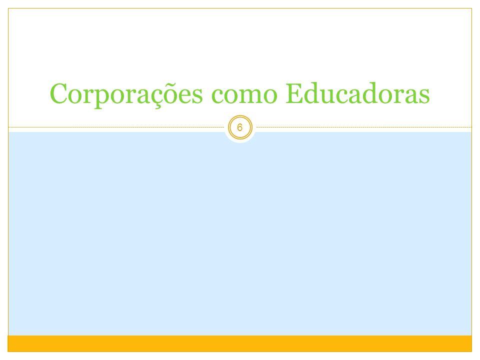 Educação Corporativa e T&D 17 Educação CorporativaT&D Desenvolver competências essenciais para o êxito do negócio Desenvolver competências essenciais para o trabalho Prática de negóciosFormação conceitual e universal Cultura empresarialCultura acadêmica Êxito da empresa e dos clientesÊxito das instituições e da comunidade