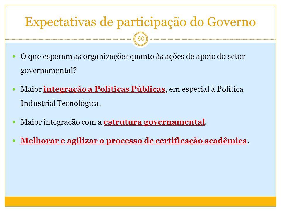 Expectativas de participação do Governo O que esperam as organizações quanto às ações de apoio do setor governamental.