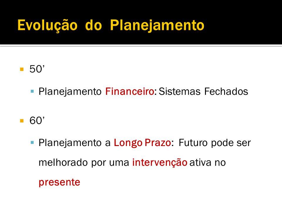 50 Planejamento Financeiro: Sistemas Fechados 60 Planejamento a Longo Prazo: Futuro pode ser melhorado por uma intervenção ativa no presente
