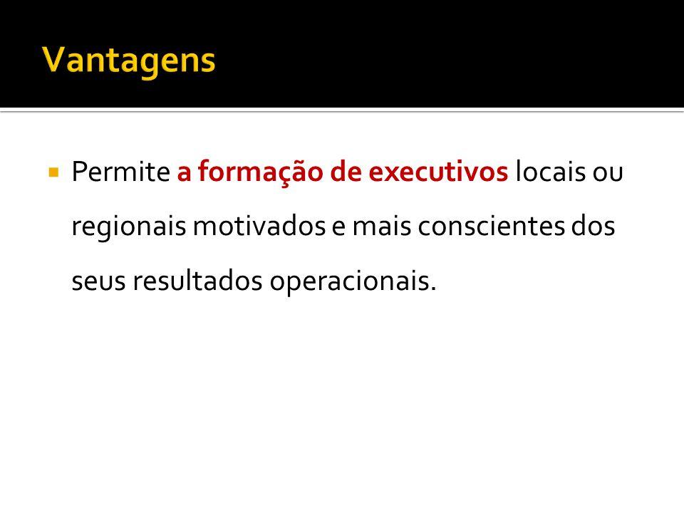 Permite a formação de executivos locais ou regionais motivados e mais conscientes dos seus resultados operacionais.