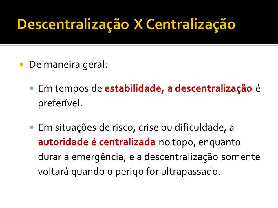 De maneira geral: Em tempos de estabilidade, a descentralização é preferível.